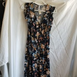 Xhilaration Black Floral Dress Medium NWT